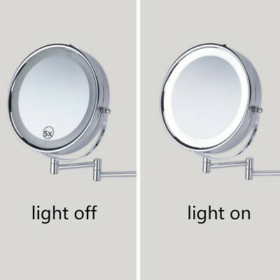 Wall Mounted Mirror LED Light Dual Sides 5x Magnifying for Makeup Bath Shave