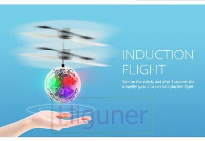 Quality! LED Flashing Infrared Sensor Crystal Flying Ball Induction Helicopters