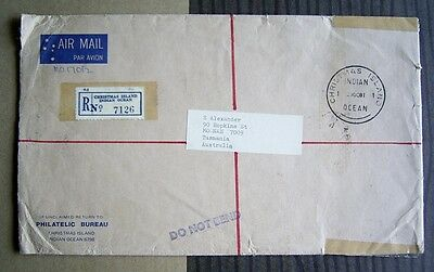 Postmark Collectors! Used Official Christmas Island Registered Env - 1981
