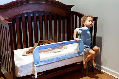 Convertible Crib Rail Toddler Blue Baby Kids Bed Safety Mesh 33Inch Long Fastens