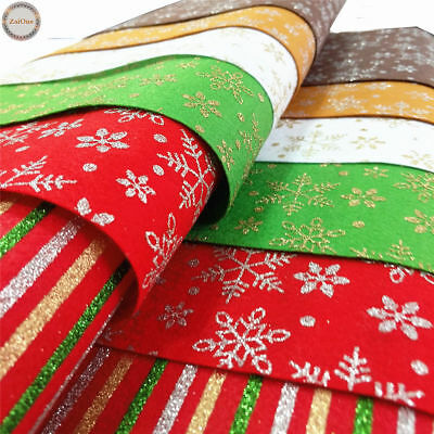 Sparkle Glitter Snowflakes Non Woven Felt Fabric Wool Blend Xmas Craft Material