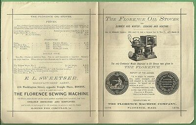 1876 Philadelphia Expo Brochure THE FLORENCE OIL STOVES Cooking Heating MA.