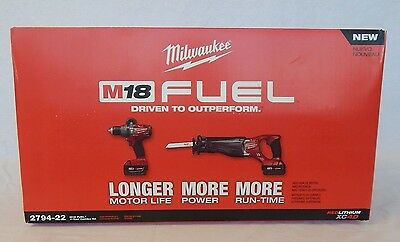 "Milwaukee M18 Fuel 2-Tool Combo Kit- 1/2"" Hammer Drill and Sawzall"