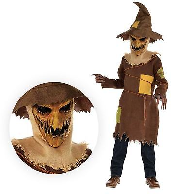 Kids Boys Corn Field Scary Horror Pumpkin Scarecrow Costume Wizard Haunted OZ