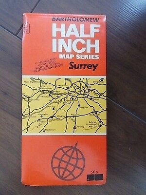 Vintage 1973 Bartholomew Half Inch Cloth Map Sheet # 9 Surrey