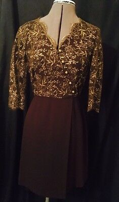 Vintage Maurice Melbourne Gold And Brown Dress Size 8 To 10