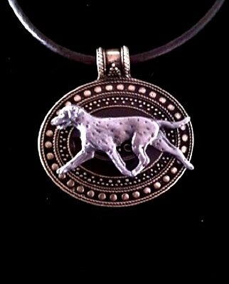 Dalmation  Dog Brass Medallion on leather cord~necklace~