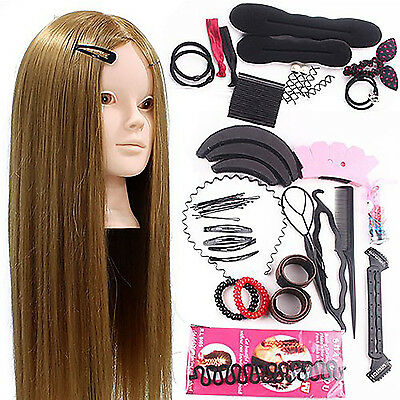Hairdressing Training Head Mannequin Makeup Practice Braid Set 50% Real Hair