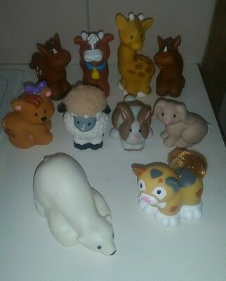 10 Fisher Price Little People Figures Bulk Lot of Animals
