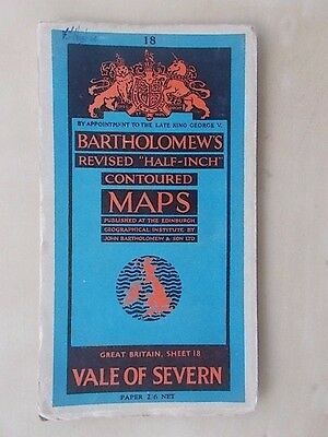 Vintage Bartholomews Contoured Map Sheet 18 Vale Of Severn Paper Edition