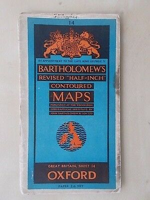Vintage Bartholomews Contoured Map Sheet 14 Oxford Paper Edition