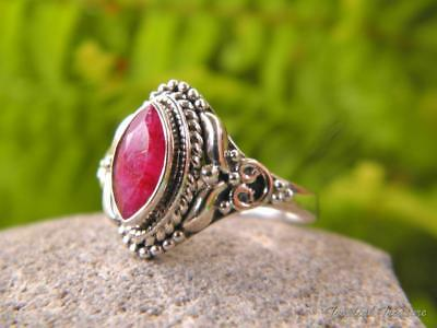 RUBY & 925 SOLID Silver RING (Size 7 3/4,  P)