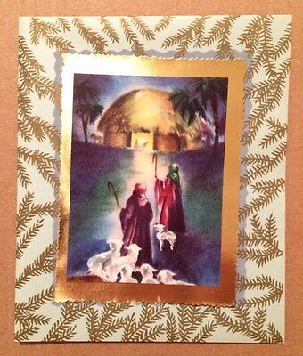 Unused Regal Shepherds With Sheep At Manger Creche 1940's Vintage Christmas Card