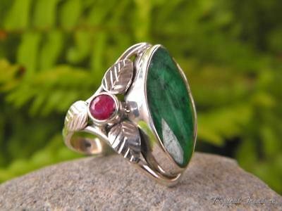 Emerald & Ruby 925 SOLID Silver Ring (Size 6, L 1/2)