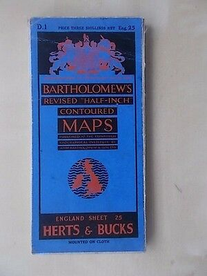 Vintage Bartholomews Contoured Map Sheet 25 Herts & Bucks Cloth Edition
