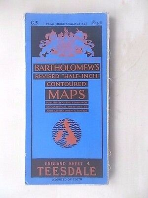 Vintage Bartholomews Contoured Map Sheet 4 Teesdale Cloth Edition