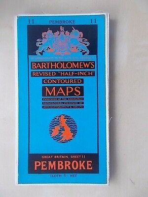Vintage Bartholomews Contoured Map Sheet 11 Pembroke Cloth Edition