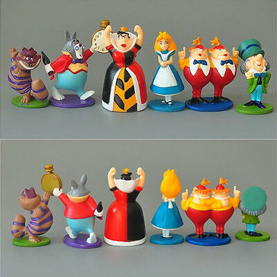 6Pcs Alice in Wonderland Rabbit Cheshire Cat Hatter 2.5in Action Figures Toy Set