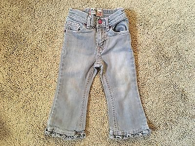 Baby girl bottoms size 18 months Children's Place gray & pink ruffle blue jeans