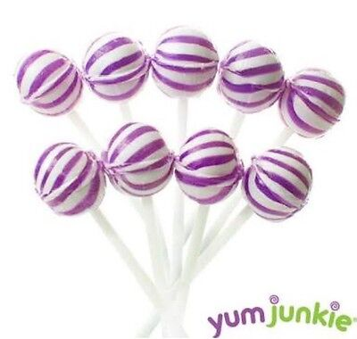 50 Purple & White Ball Pops Lollipops Candy Buffet Lollies Flavour