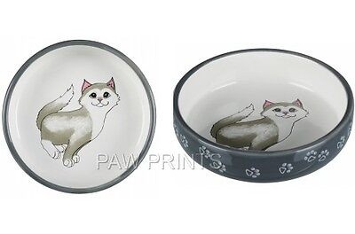 CERAMIC CAT BOWL DISH WIDE 15cm IDEAL FOR SHORT NOSE BREEDS WHITE GREY  24784