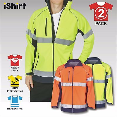 2 X Hi Vis Safety Jacket Soft Shell Reflective Waterproof Windproof Day & Night