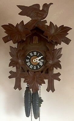 "German 2 Weights Driven Movement Carved Wood Case Cuckoo Clock GWO 13"" L 10""W"