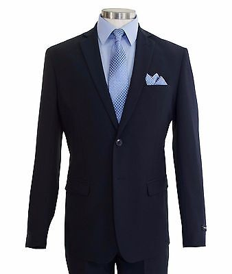 Men's Navy Blue 2 Button Slim-Fit Polyester Suit NEW