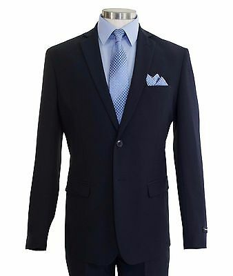 Victorio Couture Men's Navy Blue 2 Button Slim-Fit Polyester Suit NEW