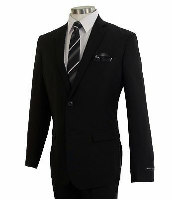 Men's Black 2 Button Slim-Fit Polyester Suit NEW