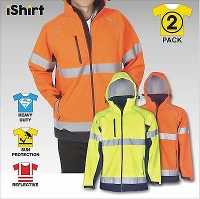 2 X Hi Vis Safety Jacket Soft Shell Reflective Waterproof Windproof With Hooded