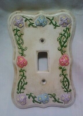 Vintage DUNCAN 1976 Ceramic Single Light Switch Cover Plate Floral Hand Painted