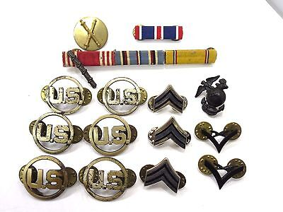 Lot of 15 Vintage WWII US Army Military Lapel Collar Hat Pins Ribbons
