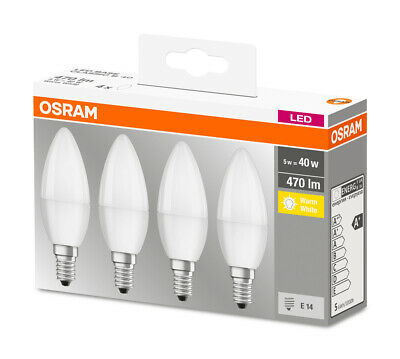 OSRAM LED BASE CLASSIC B 40 5,7W=40W 470lm Kerze matt warm white 2700K nodim 4er