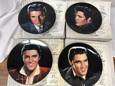 """FOUR Elvis Presley """"Portraits of the King"""" Collector Plates #5-8 Excellent Cond."""