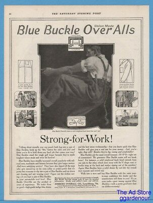 1918 Jobbers Blue Buckle Overalls Lynchburg VA Union Made Strong for Work Art Ad