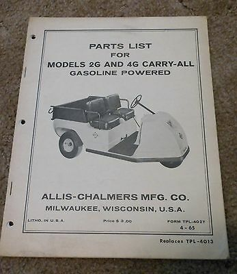 Allis Chalmers Carry-All Cart 2G and 4G Parts Manual OEM 1965