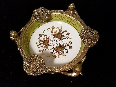 Art Noveau Cherub Ormolu Porcelain Hand-Painted Trinket Or Ashtray Dish