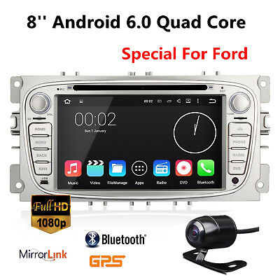 Silver 7'' Android 6.0 Car DVD Player GPS Navi Car Stereo for FORD MONDEO FOCUS