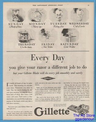 1928 Gillette Safety Razor Boston MA Shaving Blades Every Day a different Job Ad