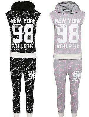 Kids Girls 98 New York Brooklyn Tracksuit  Splash Print Hoodie Outfit Set