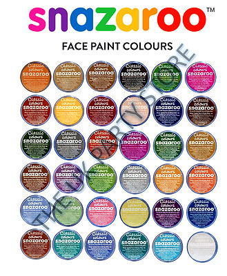 18ml SNAZAROO FACE & BODY PAINTS MAKE UP STAGE FANCY DRESS 57 COLOURS~Fast Disp