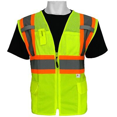 3M ANSI Class 2 Surveyor Style Pockets Safety Vest High Visibility Size Medium