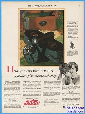1926 Bell & Howell Automatic Filmo Movie Camera Feature Film Clearness Print Ad