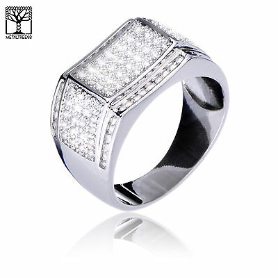 Men's Iced OUT Silver Plated CZ Square Top RX Band Bling Pinky Ring SJ 24956 S