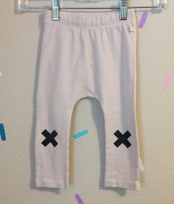 Tinycottons Logo X Leggings Tiny Cottons Cream Black Stretch Size 2 Years