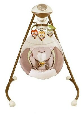 Fisher-Price My Little Snugabear Cradle 'N Swing Brown with White ~