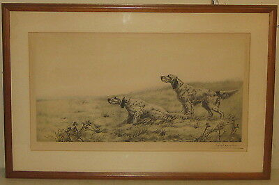 Vintage LEON DANCHIN 'English Setters on the Hunt' SIGNED ETCHING - Listed DOGS