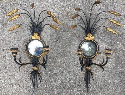 Vtg Italy Double Candle Mirror Pair Wall Sconces Black & Gold Gilt
