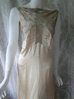 CIRCA 1930's,LUMINOUS LADIES CREAM SILK  BIASED GOWN W/BEADS